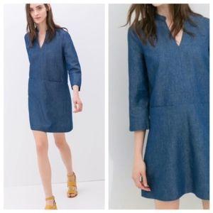 Zara Basic Coutute Denim Mini Shift Dress Chambray